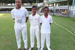 (l-r) Outstanding performers! Omari Lallbachan (26 not out), Nicholas Sewpersaud (5-27) and Sachin Balgobin (5-13) were the standouts when West Demerara and East Coast clashed in the final round of the Demerara Cricket Board's U15 Inter-Association tournament yesterday.