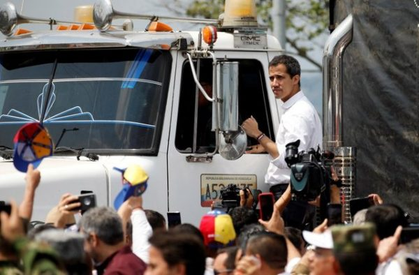 Self-proclaimed Venezuelan President Juan Guaido with one of the convoys.