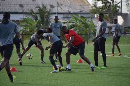 Members of the Golden Jaguars local contingent being put through their paces at the National Training Centre, Providence under the watchful eye of Head-Coach Michael Johnson ahead of their CONCACAF Nations League clash with Belize next month.