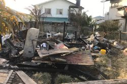 The remains of Yowani Sasnarine's home after the fire.
