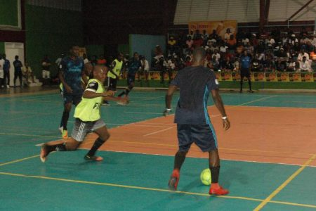 Flashback-Scenes from the semi-final clash between Sparta Boss and Gold is Money at the National Gymnasium in the 2nd Annual NSC/Magnum Futsal Championships.