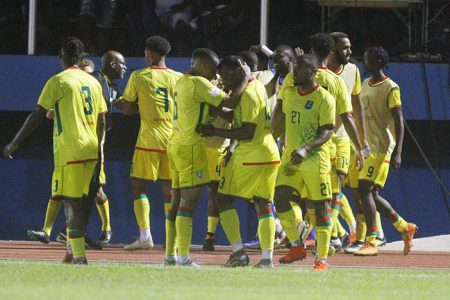 Celebrations-,The Golden Jaguars celebrating their second goal, the fixture's eventual winner against Belize at the National Track and Field Centre Leonora in the CONCACAF Nations League Qualifiers0