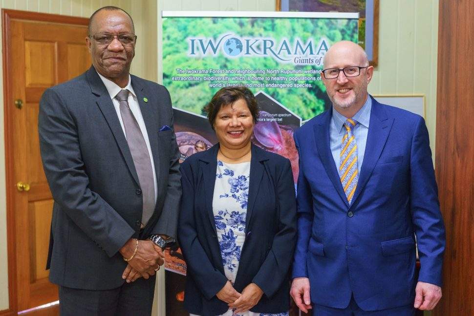 From left are Minister of State, Joseph Harmon; Canadian High Commissioner to Guyana, Lilian Chatterjee and Assistant Deputy Minister of the Americas in the Canadian Ministry of Global Affairs,  Michael Grant. (Ministry of the Presidency photo)