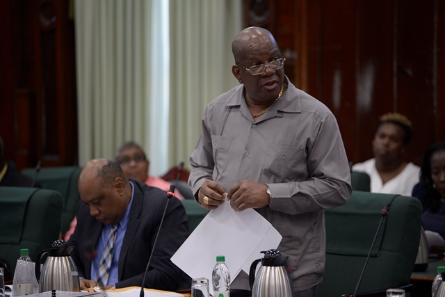 Finance Minister, Winston Jordan before the National Assembly