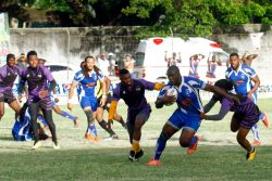 The Panthers and Trinidad's Northern Rugby Club battling for the coveted first prize on Sunday. (Orlando Charles photo)