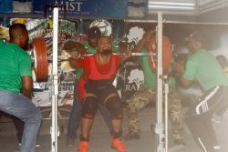 Squatter's Row! Jeremy Smith is all calm prior to his explosive squat.