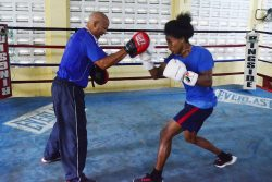 Boxing standout, Keevin Allicock going through his paces during a recent training session with Cuban Coach, Francisco Hernandez Roldan at the Andrew 'Sixhead' Lewis Boxing Gym. (Orlando Charles photo)