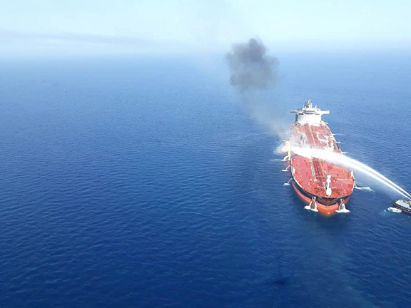 The tanker on fire (Reuters photo)