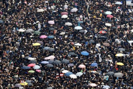 The protesters today (Reuters photo)