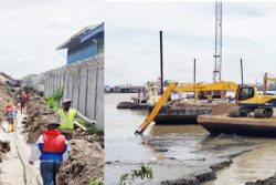 Laying of the cable at Princes Street, Georgetown and across the Demerara River (GPL composite photo)