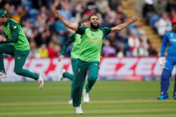 South Africa's Imran Tahir celebrates one of his four wickets yesterday. (Reuters photo)