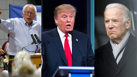 From left are Bernie Sanders, Donald Trump and Joe Biden