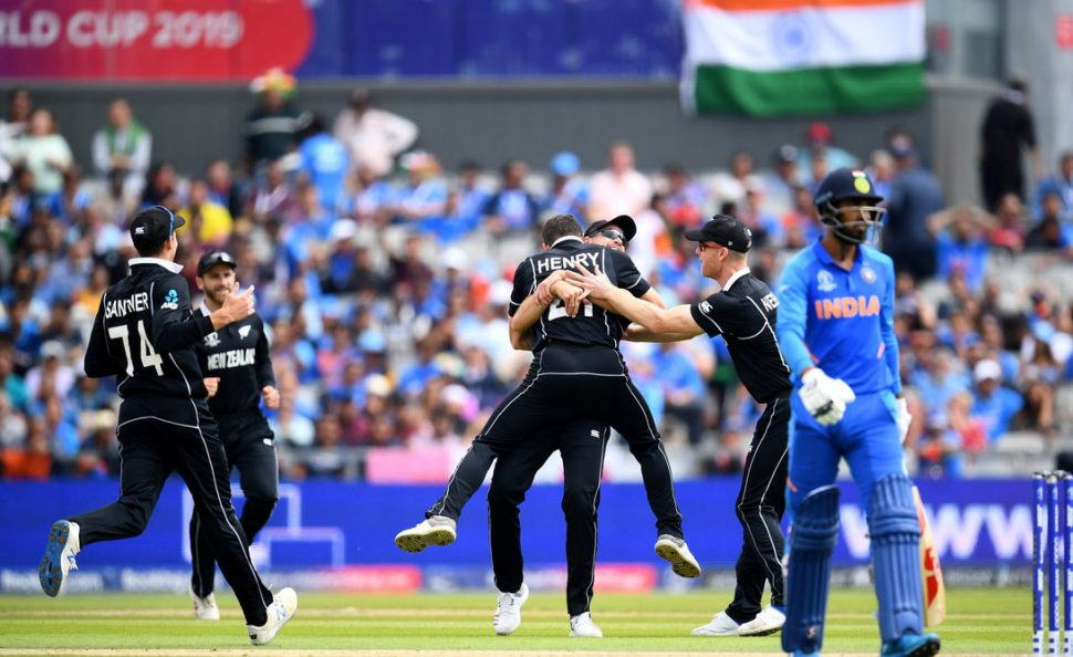 The New Zealanders celebrate reaching the World Cup final, their second in successive competitions.