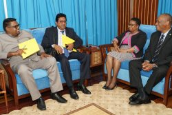 Sitting from left are Irfaan Ali, Anil Nandlall, Volda Lawrence and Joseph Harmon. (Ministry of the Presidency photo)