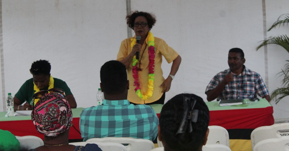 Minister within the Ministry of Indigenous Peoples' Affairs Valerie Garrido-Lowe addressing Corriverton residents at a public meeting