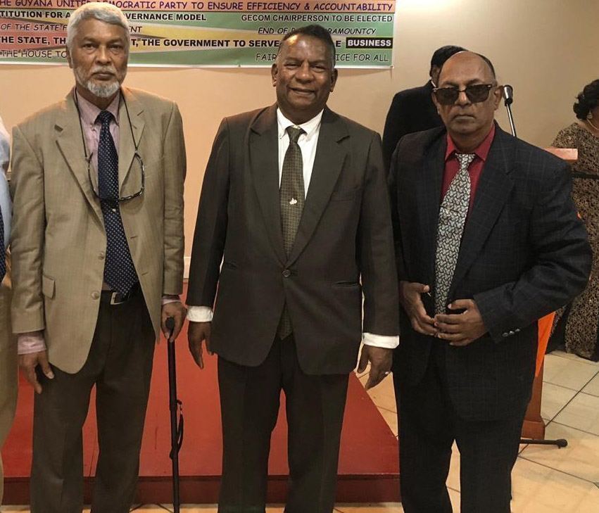 From left, Founder of the Guyana United Democratic Party Roopnarine Persaud, Presidential Candidate Ramroop Jiwanram and Deputy Co-Chairman Seopaul Singh at yesterday's launching.
