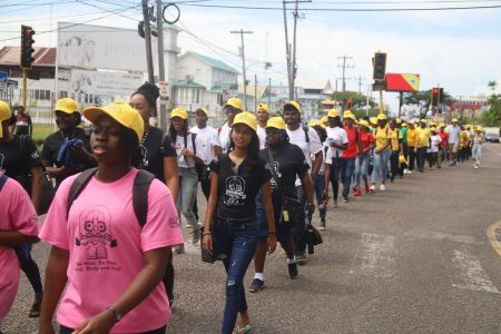 A section of the march yesterday (Terrence Thompson photo)