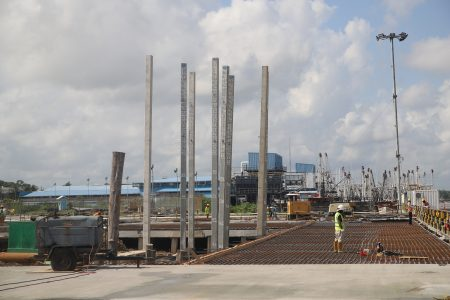 Current construction works for the new Guyana Shore Base Inc wharf (Photo by Terrence Thompson)