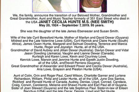 JANET CECILIA HUNTE M.S.