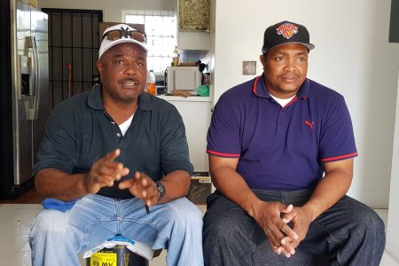 Peter Nash, left and Brent Wilson, two of six Trinidadians who survived Hurricane Dorian on The Grand Bahama island.