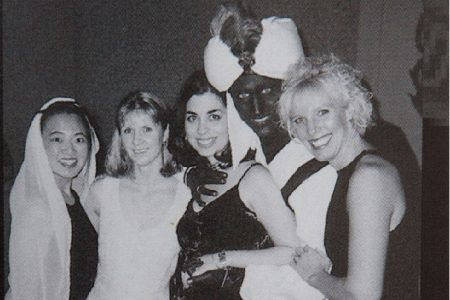 """A photo posted online by TIme with the following caption """"Justin Trudeau, now the prime minister of Canada, appears in dark makeup on his face, neck and hands at a 2001 """"Arabian Nights""""-themed party at the West Point Grey Academy, the private school where he taught.""""time.com"""