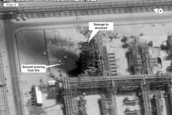 A satellite image showing damage to oil/gas Saudi Aramco infrastructure at Khurais, in Saudi Arabia in this handout picture released by the U.S Government September 15, 2019. U.S. Government/ DigitalGlobe/Handout via REUTERS