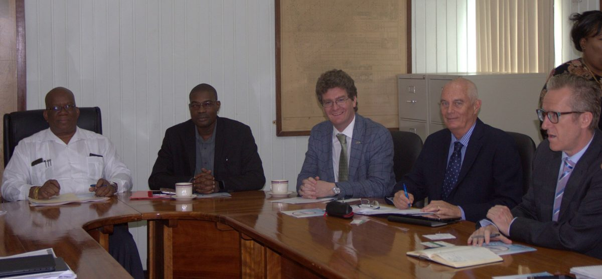 From left are Minister of Finance Winston Jordan, Minister of Public Infrastructure David Patterson, British High Commissioner to Guyana Greg Quinn and other officials in 2016 at the launching of the programme. (SN file photo)