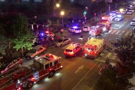 Rescue vehicles are seen following a shooting in Washington, D.C., U.S. September 19, 2019, in this picture obtained from social media. Mandatory credit CHRIS G COLLISON/via REUTERS