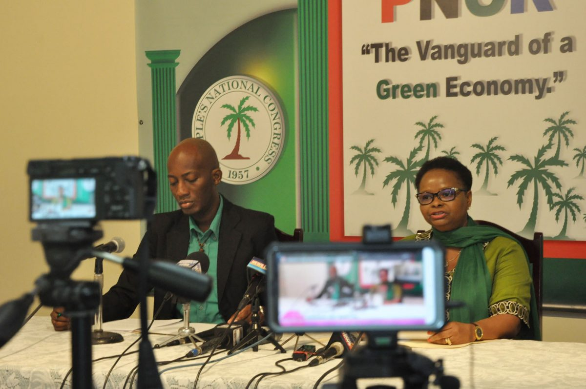 PNCR Chairwoman Volda Lawrence addressing reporters during a party press conference at Congress Place on Friday (PNCR photo)