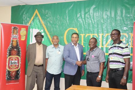 Lusignan Golf Club's Public Relations Officer, Guy Griffith, Liquor Warehouse Executive Mark Lashley, LGC President, Aleem Hussain, Banks DIH Communications Manager, Troy Peters and Chief Engineer, Gavin Todd (Romario Samaroo photo)