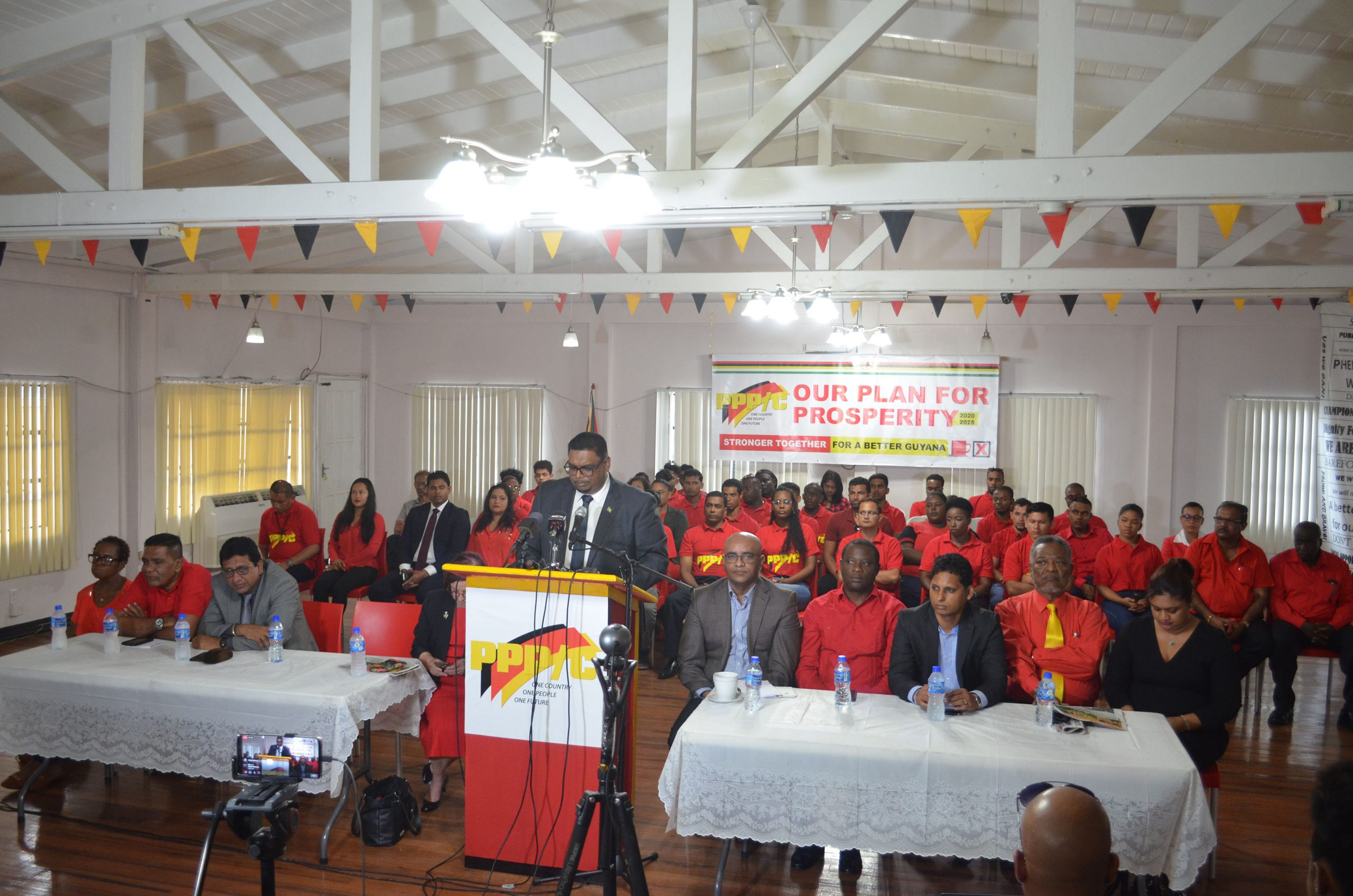 People's Progressive Party/Civic presidential candidate Irfaan Ali speaking at the launch of an outline of the party's manifesto yesterday.
