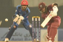Shai Hope drives stylishly through the off-side during his unbeaten 109 in the third ODI against Afghanistan.