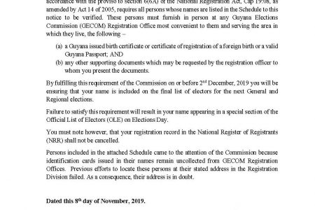 The order accompanying the list of registrants with uncollected IDs