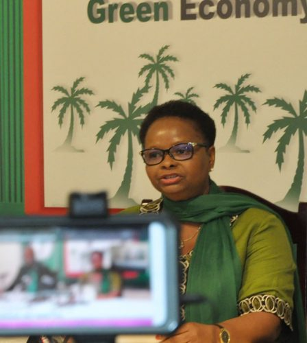 APNU's chief negotiator Volda Lawrence speaking at a recent PNCR press conference