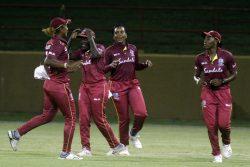 West Indies Women celebrate the wicket of Harmapreet Kaur. (Orlando Charles photo)