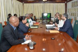 The government team on the left with the IDB team yesterday (Ministry of the Presidency photo)