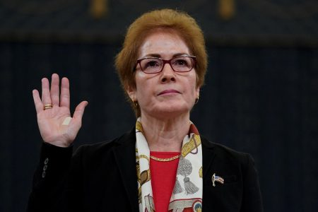 Marie Yovanovitch being sworn in today to testify. (Reuters/Jonathan Ernst)