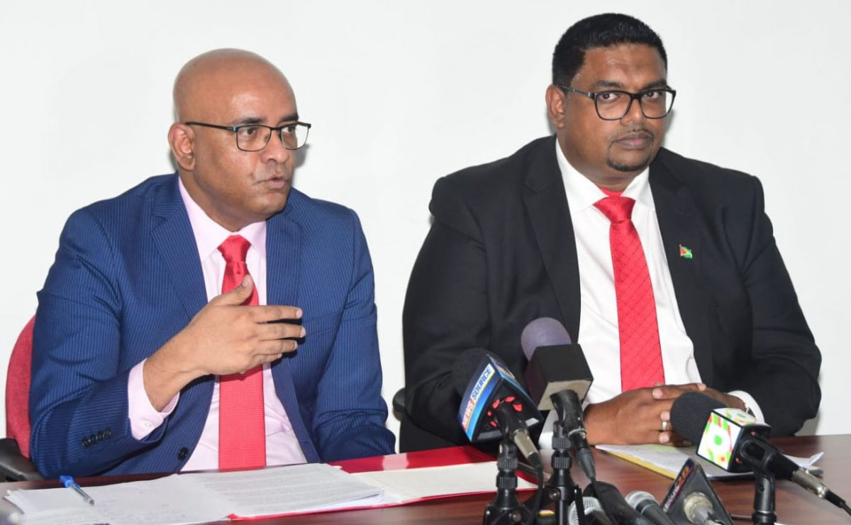 Presidential candidate Irfaan Ali (right) and Opposition Leader Bharrat Jagdeo at the press conference yesterday.