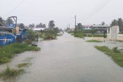 A flooded business place on the Essequibo Coast