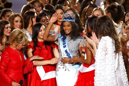 Miss World 2019 Toni-Ann Singh of Jamaica is congratulated by other contestants after winning the award during the 69th annual Miss World competition at the Excel centre in London, England, yesterday.