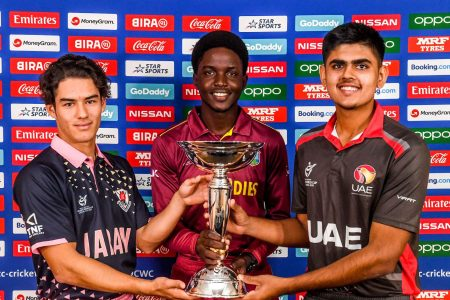 Marcus Turgate of Japan, Kimani Melius of the West Indies and Aryan Lakra of the UAE during a press conference prior to the start of the ICC U19 Cricket World Cup 2020.