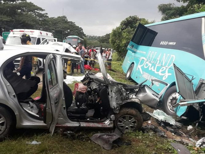 Wreckage of the Nissan March motor car that was involved in a deadly crash in Trelawny on Sunday