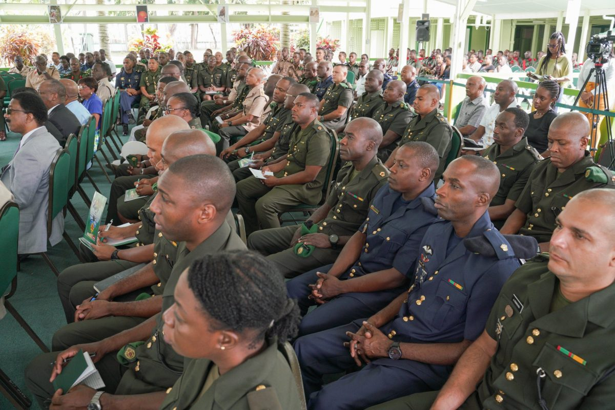 A section of the participating Officers at this year's Annual Officers' Conference of the Guyana Defence Force. (Ministry of the Presidency photo)