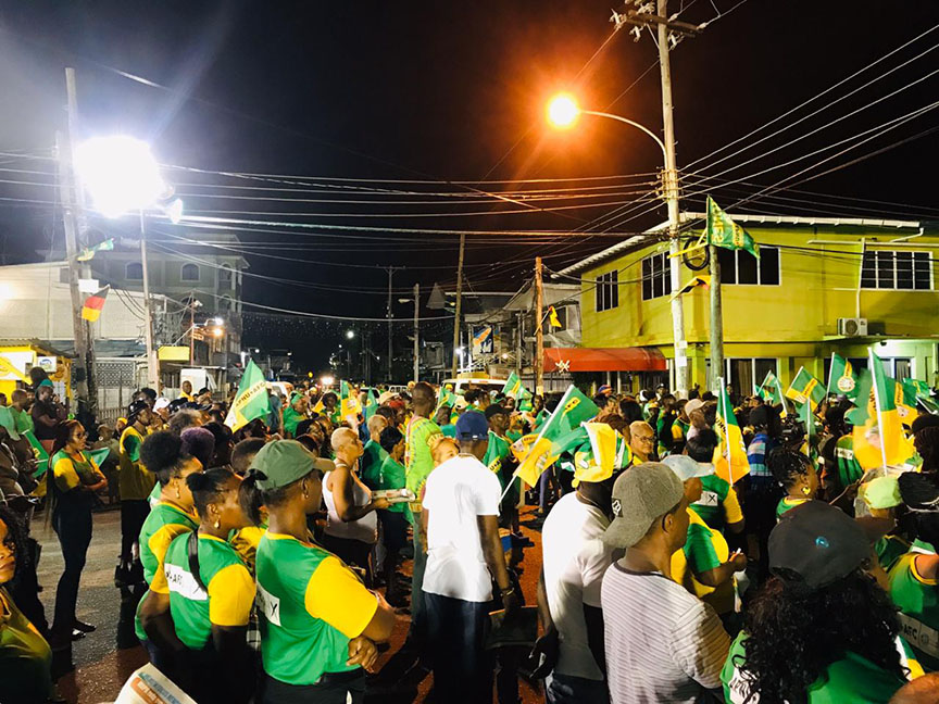 Some of the APNU+AFC supporters at the public meeting held last night at Kitty Market Square