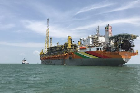 The Liza Destiny Floating Production, Storage and Offloading (FPSO) vessel, which is in Guyana's waters, in the offshore Stabroek Block, has a production capacity up to 120,000 barrels of oil per day. (ExxonMobil photo)