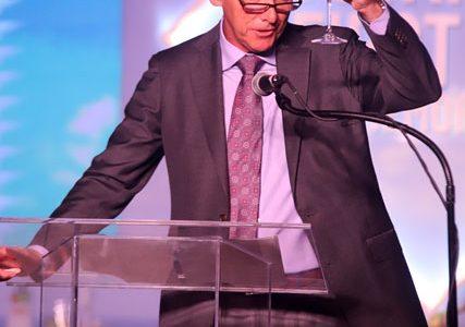 ExxonMobil Upstream President, Liam Mallon toasts to Guyana's success (Department of Public Information photo)