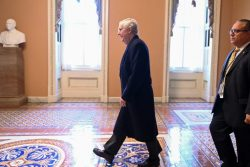 Senate Majority Leader Mitch McConnell arrives for the fourth day of the Senate impeachment trial of U.S. President Donald Trump at the U.S. Capitol in Washington, U.S., January 24, 2020. REUTERS/Erin Scott