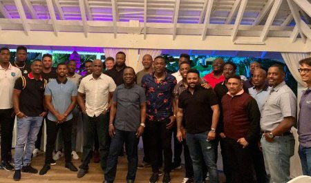 Players and management of the West Indies team with Grenada's Prime Minister Dr Keith Mitchell.