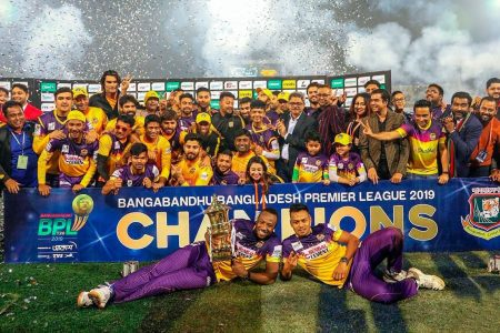 BASKING IN THE GLOW OF VICTORY! Andre Russell, lying left, almost singlehandedly propelled Rajshahi Royals to the Bangladesh Premier League title striking  27 not out and snatching two key wickets.