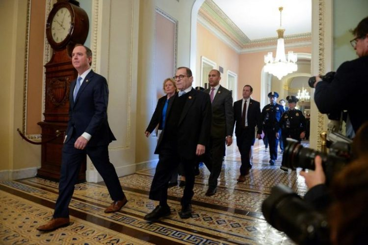 House Managers Rep. Adam Schiff (D-CA) and Rep. Jerry Nadler (D-NY) walk to the Senate Floor for the start of the Senate impeachment trial of U.S. President Donald Trump in Washington, U.S., January 21, 2020. REUTERS/Mary F. Calvert